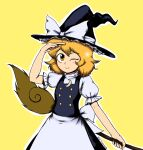 1girl apron black_dress blinking blonde_hair bow braid breasts broom buttons dress frilled_dress frills giantcavemushroom hair_bow hat hat_bow highres juliet_sleeves kirisame_marisa long_sleeves puffy_sleeves short_hair short_sleeves single_braid small_breasts touhou waist_apron white_bow witch_hat yellow_background yellow_eyes