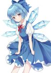 1girl :/ blue_bow blue_dress blue_eyes blue_hair bow breasts cirno closed_mouth dress expressionless eyebrows_visible_through_hair feet_out_of_frame hair_bow highres ice ice_wings leaning_forward light_blush looking_at_viewer mongkyung puffy_short_sleeves puffy_sleeves short_hair short_sleeves simple_background small_breasts solo touhou white_background wings