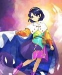 1girl bag bangs blue_cape blue_eyes blue_hair boots bow buttons cape cape_hold card clenched_hand closed_mouth dress eyebrows_behind_hair floating_card footwear_bow hair_behind_ear hairband highres kaigen_1025 long_sleeves looking_to_the_side multicolored multicolored_clothes multicolored_dress multicolored_hairband purple_footwear rainbow_gradient satchel short_hair solo sun swept_bangs tenkyuu_chimata touhou two-sided_cape two-sided_fabric white_bow white_cape zipper zipper_pull_tab