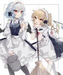 2girls alternate_costume apron arm_support bangs bat_wings black_legwear blonde_hair blue_bow blue_dress blue_hair blue_neckwear blue_ribbon blush border bow broom bucket bucket_of_water buttons collared_shirt dress dress_shirt dustcloth enmaided eyebrows_visible_through_hair flandre_scarlet hair_between_eyes hand_up head_rest highres holding holding_bucket juliet_sleeves kneehighs long_sleeves looking_at_another looking_at_viewer maid maid_apron maid_headdress multiple_girls neck_ribbon one_side_up open_mouth parted_lips planted puffy_short_sleeves puffy_sleeves red_eyes red_neckwear red_ribbon remilia_scarlet ribbon shirt short_hair short_sleeves siblings sisters sorani_(kaeru0768) touhou water white_background white_legwear white_shirt wing_collar wings wrist_cuffs