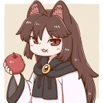 1girl :3 :d animal_ears apple bangs border brooch brown_background brown_hair eyebrows_visible_through_hair food food_on_face fruit holding holding_food holding_fruit imaizumi_kagerou jewelry long_hair long_sleeves open_mouth poronegi red_eyes simple_background smile solo touhou upper_body white_border wide_sleeves wolf_ears