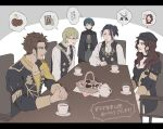 1girl 4boys alcohol ascot basket beer braid brown_hair byleth_(fire_emblem) byleth_(fire_emblem)_(male) chair claude_von_riegan cookie cup dark_skin dark_skinned_male dorothea_arnault felix_hugo_fraldarius fire_emblem fire_emblem:_three_houses food glasses green_hair hat ignatz_victor long_hair multiple_boys music painting_(object) singing sitting spoken_character sword table teacup teapot translated weapon