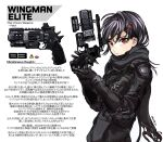 1girl b3_wingman_elite bangs black_bodysuit black_gloves black_hair black_scarf bodysuit english_commentary gloves gun hair_behind_ear hair_ornament hairclip holding holding_gun holding_weapon kotone_a looking_at_viewer personification red_eyes redhead revolver scarf short_hair solo titanfall_(series) titanfall_2 weapon white_background