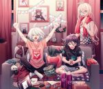1girl 2boys ahoge alternate_costume animal_print antenna_hair arms_up bangs barefoot black_hair black_pants black_shirt blonde_hair bra breasts candy_wrapper character_doll checkered checkered_shirt cheer_(cheerkitty14) chips clock closed_eyes clothes_writing collarbone computer couch cup curtains danganronpa_(series) danganronpa_v3:_killing_harmony dog_print english_commentary flower food grey_hair grey_shorts hair_between_eyes hair_ornament heart heart_pillow holding indoors iruma_miu keebo laptop long_hair low_ponytail lower_teeth medium_breasts mouse_(computer) multiple_boys night open_mouth ouma_kokichi pale_skin panties pants photo_(object) pill pillow pink_flower pink_shirt red_bra red_panties shirt short_hair short_sleeves shorts sitting socks soda solo_focus striped_underwear table towel towel_around_neck translation_request underwear upper_teeth wet white_legwear window