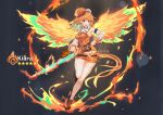 1girl ardenlolo artist_name beret breasts character_name chef_hat chicken_leg colored_inner_hair detached_sleeves deviantart_logo energy_wings facebook_logo food genshin_impact green_hair hat holding holding_food holding_sword holding_weapon hololive hololive_english instagram_logo medium_breasts multicolored_hair orange_hair orange_headwear orange_skirt parody pixiv_logo skirt smile solo star_(symbol) style_parody sword takanashi_kiara thigh-highs twitter_logo violet_eyes watermark weapon white_headwear