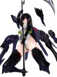 1girl absurdres alice_gear_aegis black_hair floating floating_object highres holding holding_weapon jacket kagari3 kagome_misaki leotard mecha_musume mole scythe simple_background solo violet_eyes weapon white_background
