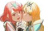 2girls blonde_hair blush breasts hikari_(xenoblade_2) holding_hands homura_(xenoblade_2) long_hair nuka_(pixiv27788352) red_eyes short_hair xenoblade_(series) xenoblade_2