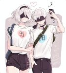 1boy 1girl bag black_hairband black_shorts blindfold blue_heart blush border breasts casual cellphone choker couple cowboy_shot dinikee hairband heart hetero holding_another large_breasts mole mole_under_mouth nier_(series) nier_automata phone pink_heart selfie shirt short_hair short_shorts short_sleeves shorts smartphone smile t-shirt white_border white_hair white_shirt yorha_no._2_type_b yorha_no._9_type_s