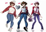 1girl :o absurdres artist_progress bag bangs breasts bright_pupils brown_eyes brown_hair denim english_commentary floating_hair glasses highres jeans large_breasts looking_at_viewer looking_to_the_side looking_up medium_breasts multiple_views navel open_hands open_mouth original pants red_sweater school_bag short_hair snowcie snowciel sweater two-tone_sweater white_background white_footwear white_pupils white_sweater