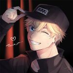 1boy ;d baseball_cap black_background black_headwear black_shirt blonde_hair blue_eyes dated ear_piercing earrings hand_up hat iku_(yu851024) jewelry long_sleeves looking_at_viewer love_and_producer male_focus one_eye_closed open_mouth piercing ring shirt signature smile solo stud_earrings sweat thank_you upper_body zhou_quiluo
