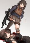 2girls akaiha_(akaihasugk) assault_rifle bangs black_gloves black_legwear black_skirt blood bloody_clothes blue_jacket brown_eyes brown_gloves brown_hair brown_headwear brown_skirt camouflage camouflage_skirt check_weapon closed_mouth collared_shirt commentary_request commission death full_body gloves grey_background gun gunshot_wound headphones helmet highres jacket kevlar_vest knee_pads kneehighs long_sleeves looking_at_another looking_down m4_carbine mismatched_legwear multiple_girls original rifle shirt short_hair simple_background skeb_commission skirt stepped_on thigh-highs upper_body weapon white_shirt