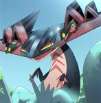 alu_drp claws commentary_request day dragapult dreepy gen_8_pokemon highres no_humans open_mouth outdoors pokemon pokemon_(creature) shiny sideways_glance sky tongue