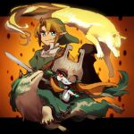 1boy 1girl blonde_hair blue_eyes chain colored_sclera cuffs green_headwear green_shirt grin hat helmet hero's_shade holding holding_sword holding_weapon letterboxed link link_(wolf) looking_at_viewer midna multiple_persona nintendo orange_background orange_hair pointy_ears red_eyes shackles shirt smile sword the_legend_of_zelda the_legend_of_zelda:_twilight_princess ukata weapon yellow_sclera
