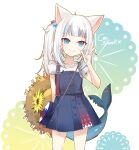 1girl aa2233a animal_ears arm_behind_back bag blue_eyes blue_hair cat_ears dress fish_tail flower gawr_gura hair_bobbles hair_ornament handbag hat hat_flower hat_removed headwear_removed hololive hololive_english looking_at_viewer multicolored_hair pinafore_dress shark_tail simple_background smile solo standing stitches straw_hat sun_hat tail two-tone_hair v virtual_youtuber white_hair