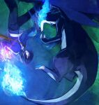 1boy bangs black_hair black_pants blue_fire blue_jacket breathing_fire calem_(pokemon) charizard claws commentary_request dragon eye_contact fire gen_1_pokemon glowing jacket long_sleeves looking_at_another male_focus mega_charizard_x mega_pokemon meiji_(meiji770) open_mouth pants pokemon pokemon_(creature) pokemon_(game) pokemon_xy