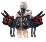 1girl blackball cyborg double_v gas_mask jacket mecha_musume mechanical_arms original red_eyes short_hair silver_hair solo v white_background