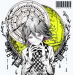 1boy bangs barcode checkered checkered_neckwear checkered_scarf clock clockwork commentary_request danganronpa_(series) danganronpa_v3:_killing_harmony goto_(sep) hair_between_eyes hands_up highres limited_palette long_sleeves looking_at_viewer male_focus number ouma_kokichi purple_hair roman_numeral scarf short_hair smile solo spot_color upper_body violet_eyes