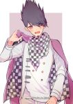 1boy artist_name bangs black_hair blush buttons checkered checkered_scarf cosplay cowboy_shot danganronpa_(series) danganronpa_v3:_killing_harmony double-breasted english_commentary eyebrows_visible_through_hair facial_hair goatee hakamii hand_up highres holding jacket jacket_on_shoulders long_sleeves looking_at_viewer male_focus momota_kaito open_mouth ouma_kokichi ouma_kokichi_(cosplay) pants pink_background pink_jacket repost_notice scarf solo spiky_hair straitjacket white_background white_jacket white_pants