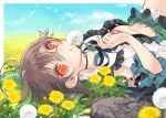 1girl bangs blue_sky bow brown_hair choker clouds dandelion eyebrows_visible_through_hair field flower flower_field green_bow green_skirt hair_between_eyes hair_bow highres holding holding_flower looking_at_viewer lying on_back open_clothes open_mouth outdoors radiation_symbol red_eyes reiuji_utsuho shirt short_sleeves skirt sky solo third_eye touhou toutenkou upper_body white_flower white_shirt yellow_flower