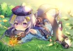 1girl absurdres bead_necklace beads braid bug butterfly closed_mouth coin_hair_ornament eyebrows_visible_through_hair flower genshin_impact grass hair_between_eyes hair_ornament hat highres huge_filesize insect jewelry loli long_hair long_sleeves looking_at_animal necklace on_ground purple_hair qing_guanmao qiqi_(genshin_impact) ranchan12 shoes solo thigh-highs violet_eyes