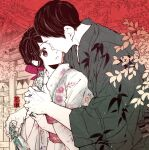 1boy 1girl architecture black_eyes black_hair bow east_asian_architecture eye_contact floral_print hair_bow hanaze hetero japanese_clothes kimono looking_at_another original outdoors ramune standing