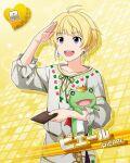 blonde_hair blush character_name dress idolmaster idolmaster_side-m pierre_(idolmaster) short_hair smile violet_eyes