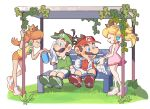 2boys 2girls bare_shoulders bench blonde_hair blue_eyes brown_hair closed_eyes crown facial_hair gazebo gloves grass green_shirt looking_at_another luigi mario mario_tennis multiple_boys multiple_girls mustache omochi_(glassheart_0u0) orange_hair pink_footwear pink_skirt polo_shirt princess_daisy princess_peach red_shirt shirt shoes short_shorts shorts skirt smile sneakers sweat towel visor_cap white_background white_gloves white_shorts yellow_shirt