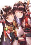black_hair blush hinoa japanese_clothes kimono long_hair minoto monster_hunter monster_hunter_(series) monster_hunter_rise pointy_ears shirokuma siblings twins
