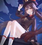 1girl absurdres akatsuki_(pixiv23539542) black_headwear black_nails black_shorts breasts brown_hair clouds genshin_impact half-closed_eyes hat_tip highres hu_tao jewelry long_sleeves looking_at_viewer nail_polish night night_sky parted_lips red_eyes ring short_shorts shorts sitting sky small_breasts socks solo symbol-shaped_pupils twintails