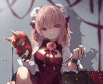 1girl :d bandaged_arm bandages bangs blurry blurry_foreground bun_cover chinese_clothes cuffs double_bun eyebrows_visible_through_hair flower grey_background holding holding_mask ibaraki_kasen looking_at_viewer mask medium_hair oni_mask open_mouth pink_eyes pink_flower pink_hair pink_rose rose shackles shadow short_sleeves simple_background sitting smile solo touhou toutenkou upper_body