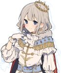 1girl blue_eyes cape closed_mouth crown earrings gloves grey_hair hand_on_own_chest hand_up heart heart_earrings ikeuchi_tanuma jacket jewelry looking_at_viewer medium_hair mismatched_earrings original red_cape simple_background smile solo two-sided_cape two-sided_fabric white_background white_gloves white_jacket