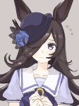 1girl animal_ears bangs black_hair blue_bow blue_flower blue_headwear blue_rose blue_shirt blush bow closed_mouth collarbone flower flying_sweatdrops grey_background hair_over_one_eye hands_together hands_up hat hat_flower highres horse_ears long_hair own_hands_together puffy_short_sleeves puffy_sleeves rice_shower_(umamusume) rose school_uniform shirt short_sleeves simple_background solo tenoo12 tilted_headwear tracen_school_uniform umamusume upper_body violet_eyes