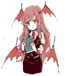 1girl bangs black_skirt black_vest book cowboy_shot cropped_legs demon_wings dot_mouth dot_nose expressionless hands_up head_tilt head_wings holding holding_book jewelry koakuma long_hair long_sleeves looking_at_viewer looking_to_the_side low_wings mozukuzu_(manukedori) nail_polish necktie pencil_skirt pinky_ring pointy_ears puffy_long_sleeves puffy_sleeves red_eyes red_nails red_neckwear red_wings redhead ring simple_background sketch skirt skirt_set sleeve_cuffs solo standing swept_bangs touhou very_long_hair vest white_background wing_collar wings