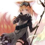 1girl animal_ear_fluff animal_ears arknights bangs black_pants brown_eyes brown_hair commentary_request eyebrows_visible_through_hair fingerless_gloves fox_ears fox_girl fox_tail gloves goggles goggles_on_head grey_gloves hair_between_eyes highres holding holding_staff kitsune mizumidori pants solo staff suzuran_(arknights) suzuran_(lostlands_flowering)_(arknights) tail torn_clothes torn_pants