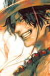 1boy artist_name bead_necklace beads black_hair closed_eyes face freckles grin happy hat highres jewelry male_focus necklace one_piece portgas_d._ace portrait short_hair smile solo tsuyomaru twitter_username watermark