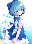 1girl :o bangs blue_bow blue_dress blue_eyes blue_hair blush bow cirno dress eringikinono eyebrows_visible_through_hair feet_out_of_frame hair_between_eyes hair_bow highres ice ice_wings looking_back parted_lips simple_background solo touhou water white_background wings