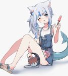 1girl absurdres animal_ears bangs blue_eyes blue_hair blush cat_ears fish_tail food gawr_gura hair_ornament highres hololive hololive_english looking_at_viewer lyrinne multicolored_hair open_mouth popsicle shark_tail silver_hair smile solo streaked_hair tail tongue tongue_out virtual_youtuber