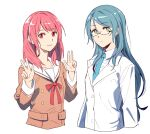 2girls akni bang_dream! bangs black-framed_eyewear blue_hair blue_neckwear brown_coat buttons closed_mouth coat collarbone collared_shirt commentary_request eyebrows_visible_through_hair glasses green_eyes hair_between_eyes hikawa_hina hikawa_sayo labcoat long_hair long_sleeves looking_at_viewer multiple_girls necktie pink_eyes pink_hair red_neckwear sailor_collar shirt simple_background smile upper_body w white_background white_sailor_collar white_shirt