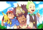 1girl 2boys :d artist_name ash_ketchum axew bangs baseball_cap black_hair blue_jacket blurry bow bowtie brown_eyes brown_vest chitozen_(pri_zen) cilan_(pokemon) closed_eyes clouds commentary_request day eyelashes fingerless_gloves gen_1_pokemon gen_5_pokemon gloves green_eyes green_hair green_neckwear grin hat index_finger_raised iris_(pokemon) jacket letterboxed locked_arms long_hair long_sleeves looking_at_viewer multiple_boys no_sclera on_head one_eye_closed open_mouth outdoors pikachu pokemon pokemon_(anime) pokemon_(creature) pokemon_bw_(anime) pokemon_on_back pokemon_on_head purple_hair shirt short_sleeves sky smile tongue upper_teeth vest watermark white_shirt zipper_pull_tab |d