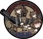 3girls :> :< ags-30 ags-30_(girls_frontline) blue_eyes brown_eyes brown_hair brown_jacket camouflage camouflage_jacket character_name dutchko english_text girls_frontline glasses jacket long_sleeves medium_hair miniskirt multiple_girls red_eyes skirt twintails weapon