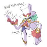 1boy 2020 ascot balan_(balan_wonderworld) balan_wonderworld capelet copyright_name english_commentary green_hair hairlocs looking_back male_focus mixed-language_commentary official_art ooshima_naoto open_hands red_neckwear sketch smile solo twisted_torso yellow_eyes