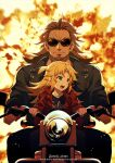 1boy 1girl age_difference anime_coloring black_jacket black_shirt blonde_hair braid brown_hair child closed_mouth explosion eyebrows_visible_through_hair facial_hair facing_viewer fate/apocrypha fate_(series) french_braid goatee green_eyes ground_vehicle highres holding jacket long_hair looking_to_the_side meiji_ken mordred_(fate) mordred_(fate)_(all) motor_vehicle motorcycle on_motorcycle open_mouth parody ponytail red_jacket riding scar scar_across_eye serious shirt shishigou_kairi signature sparks sunglasses sweatdrop t-shirt terminator_(series) terminator_2:_judgment_day thick_eyebrows