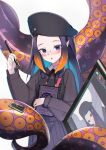 1girl :o absurdres black_dress black_headwear black_ribbon black_shirt blue_hair book brown_hair collared_shirt commentary drawing_tablet dress gradient_hair hat highres holding holding_book holding_stylus hololive hololive_english huge_filesize janyhero looking_at_viewer multicolored_hair neck_ribbon ninomae_ina'nis parted_lips pleated_dress purple_hair ribbon shirt simple_background sleeveless sleeveless_dress solo striped striped_shirt stylus tentacles upper_body vertical-striped_shirt vertical_stripes virtual_youtuber white_background