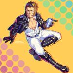 1boy absurdres alternate_costume blue_eyes brown_hair eyewear_on_head facial_hair fate/grand_order fate_(series) from_above full_body goatee highres jacket leather leather_jacket long_sideburns looking_at_viewer male_cleavage male_focus mature_male muscular muscular_male napoleon_bonaparte_(fate) pants partially_unbuttoned pectorals scar scar_on_chest short_hair sideburns solo sunglasses tight tight_pants white_pants yaosan233