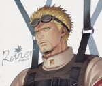 1boy blonde_hair brown_eyes face facial_hair frown goggles goggles_on_head looking_down male_focus mappo_m2 military military_uniform older parachute paradis_military_uniform reiner_braun shingeki_no_kyojin short_hair solo stubble uniform upper_body wind