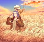 00hix00 2boys absurdres black_hair blue_sky blush brown_jacket brown_shirt clouds cloudy_sky grass highres jacket long_hair luoxiaohei multiple_boys open_mouth outdoors shirt short_hair sky smile the_legend_of_luo_xiaohei upper_body white_hair wuxian_(the_legend_of_luoxiaohei)