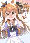 !? 1girl absurdres afterimage animal_ears anzou_kunko blush eyebrows_visible_through_hair hair_between_eyes hands_on_own_face highres horse_ears horse_girl horse_tail long_hair mayano_top_gun_(umamusume) open_mouth orange_eyes orange_hair pleated_skirt puffy_short_sleeves puffy_sleeves school_uniform short_sleeves signature skirt solo tail television tracen_school_uniform translation_request umamusume white_skirt
