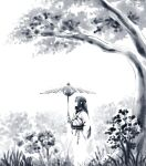 1boy black_hair closed_eyes feet_out_of_frame grass greyscale holding holding_umbrella long_hair long_sleeves monochrome plant pot_teri profile solo the_legend_of_luo_xiaohei tree umbrella wuxian_(the_legend_of_luoxiaohei)