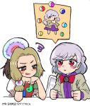 2girls blonde_hair blush brown_jacket commentary_request eyebrows_visible_through_hair feathered_wings grey_hair grey_wings head_rest highres howhow_notei imagining jacket kishin_sagume long_sleeves looking_at_another low_twintails magatama multicolored multicolored_eyes multiple_girls pose red_eyes single_wing sparkling_eyes squiggle tamatsukuri_misumaru touhou twintails v-shaped_eyebrows white_background wings yin_yang