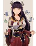 1girl black_hair blush japanese_clothes kimono long_hair minoto monster_hunter monster_hunter_(series) monster_hunter_rise pointy_ears uecchi